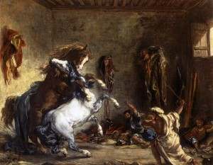 Chevaux arabes se battant dans une écurie, 1860. Huile sur toile, 64,5 x 81 cm. Musée du Louvre, Paris